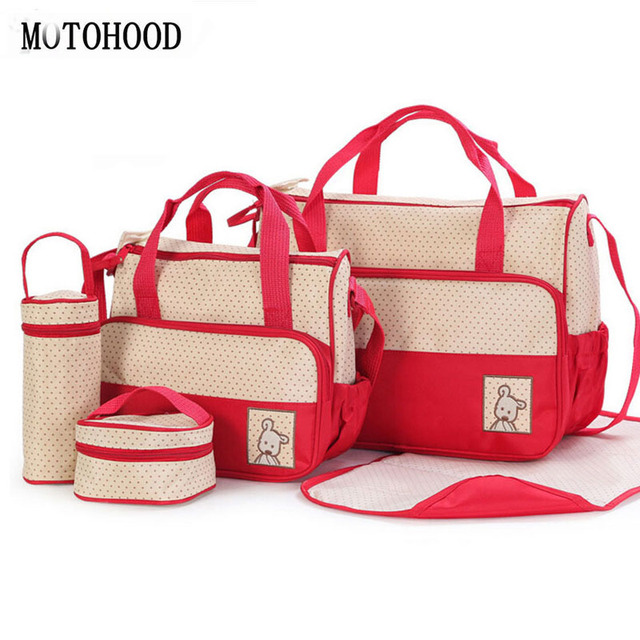 Motohood bolsa de fraldas de bebê, 39*28.5*17cm 5 peças ternos para mamãe bebê suporte de garrafa mãe mãe conjunto de bolsas para maternidade, carrinho de fralda