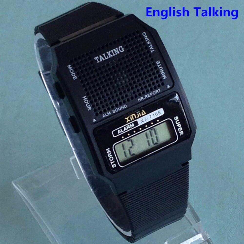a554ef98249 Inglês Falando Relógio Unisex Multifuncional para Pessoas Cegas Retângulo  Forma de Esportes Eletrônicos Relógios Com Alarme em Relógios de quartzo de  ...