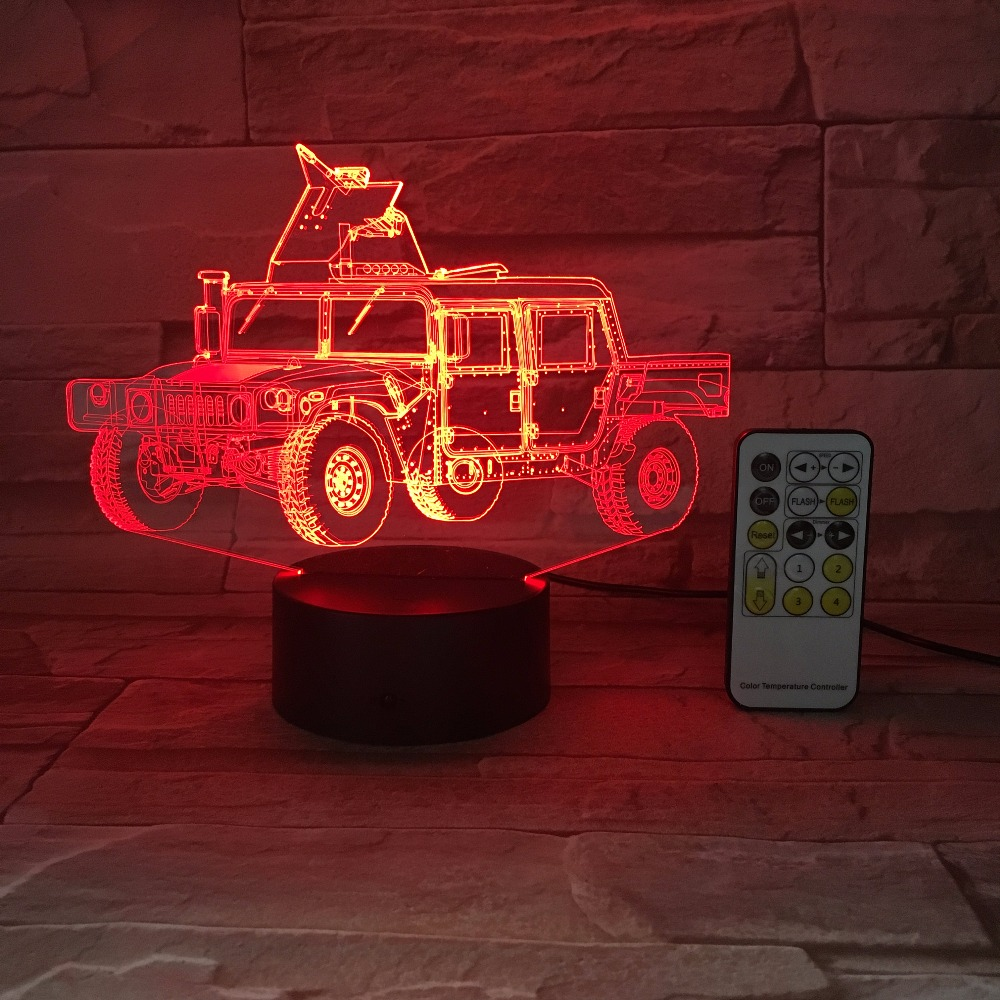 Military Truck Car 3D Optical Illusion Table Light Mood Lamp Touch Remote Control 7 Colors Home Light Novelty Gifts Drop Shippin