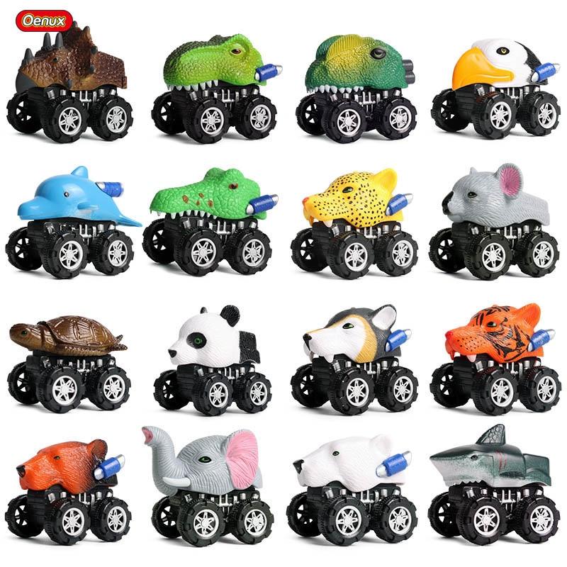 Oenux Mini Wild Tiger Wolf Pull Back Car Simulation Animals Model Shark T-Rex Dinosaur World Cute Vehicle Truck Kid Toy Gift