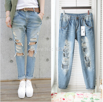 44454331742 Women washed baggy jeans femininas ripped pants with holes vintage  distressed demin high waist trousers pantalones mujer 0793