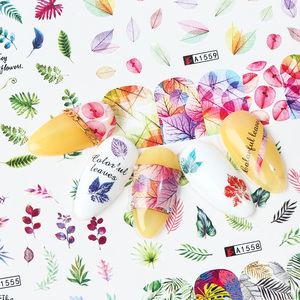 Image 2 - Ensemble de décalcomanies pour ongles, feuilles vertes, transferts à leau, 12 pièces, autocollants de manucure, tatouage, Nail Art, modèles TRA1549 1560