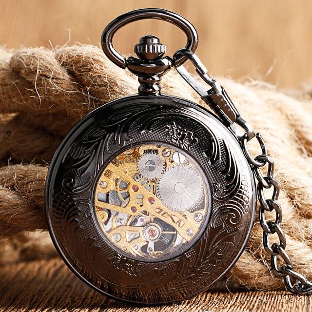 Фото новинка 2017 механические карманные часы скелетоны shuhang ручной