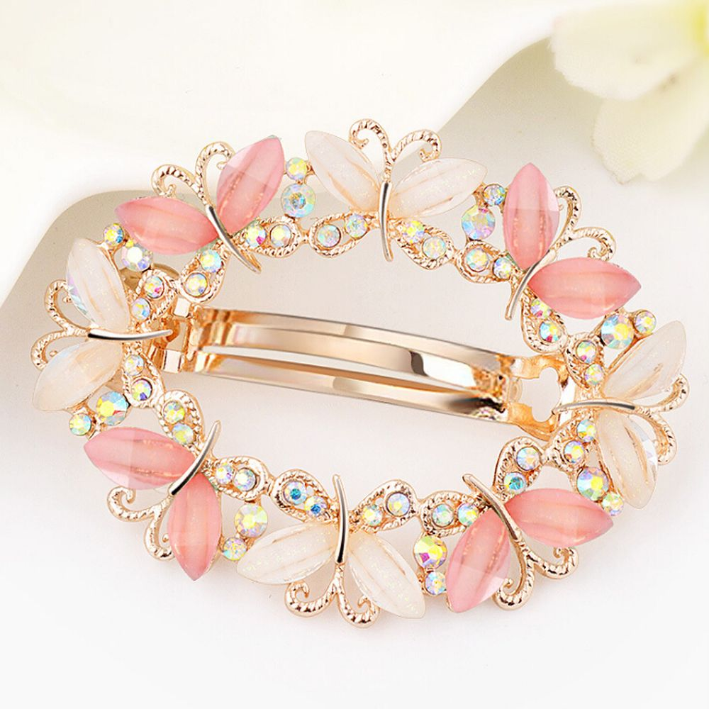 Wholesale 2017 Fashion Girls Barrette Butterfly Hairpins Crystal Rhinestone Flower Women Hair Clip Hair Accessories women headwear gift rhinestone hair claw butterfly flower hair clip 5 5cm long middle size bow hair accessories for girls