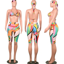 Sexy 3 Piece Set Women Head Scarf+Crop Tops+Bodycon Shorts