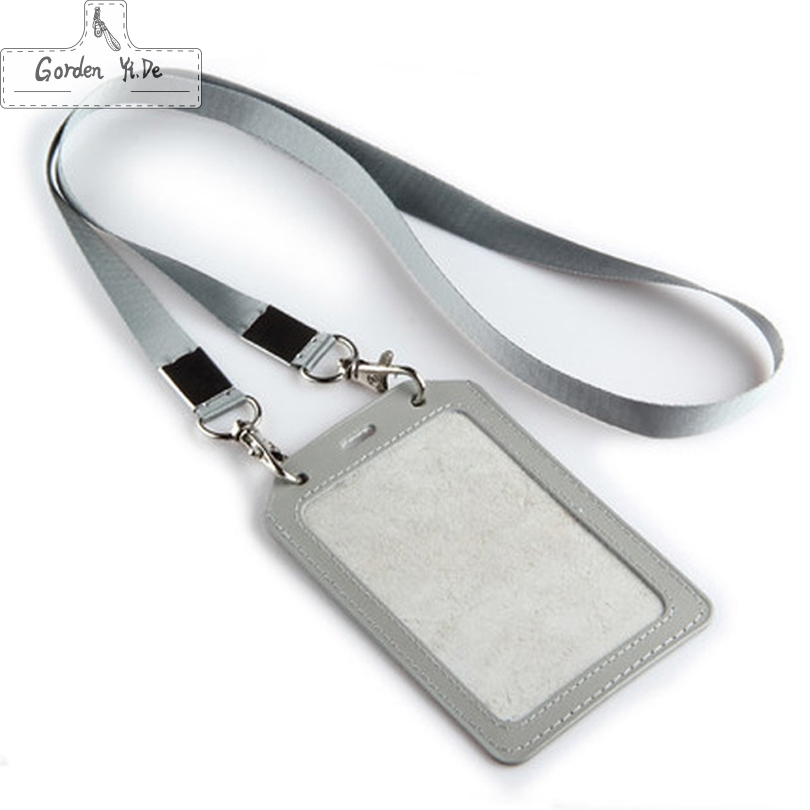 2016 New Fashion High Quality Cow Leather ID Card Holder Business Card With Lanyard Company&Office Card Holder HCS0020