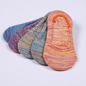 Image 3 - Calcetines invisibles de algodón para mujer, calcetín antideslizante, transpirable, colorido, Primavera, novedad de verano