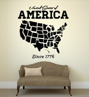 USA Map Wall Sticker United States Of America Map Mural Pvc Wall Art Sticker Closet Room Bedroom America Wall Decal Home Decor
