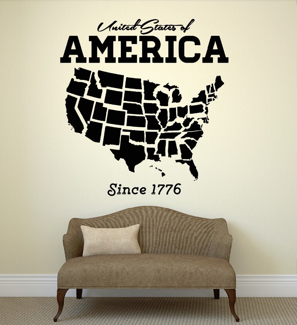 usa map wall sticker united states of america map mural pvc wall artsticker closet room bedroom america wall decal home decorin wall stickersfrom home . usa map wall sticker united states of america map mural pvc wall