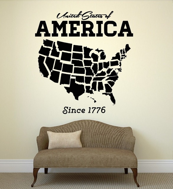 USA Map Wall Sticker United States Of America Map Mural Pvc Wall Art ...