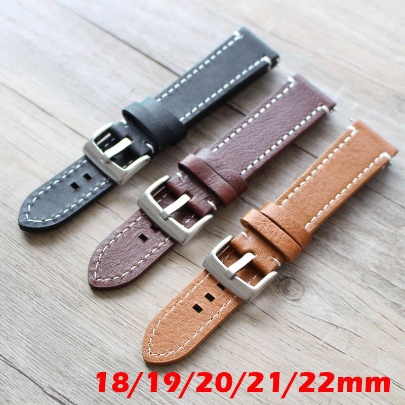 18mm 19mm 20mm 21mm 22mm 23mm Yellow Brown Black Watchbands Genuine Leather Watchband Watch Strap for Longines/Mido/Tissot/Seiko adriatica часы adriatica 3156 5116q коллекция twin