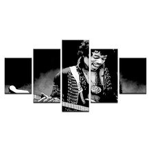 "James Marshall Rock Singer ""Jimi"" Hendrix Abstract Art Poster Home Wall Decor Oil Painting On Canvas 5 Panel Modular Picture(China)"