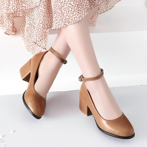 Image 5 - ขนาดใหญ่ขนาด 11 12 13 14 สุภาพสตรีรองเท้าส้นสูงรองเท้าผู้หญิงรองเท้าผู้หญิงปั๊มรอบหัว,ปากตื้น, กลางส้นหนา one word buckle