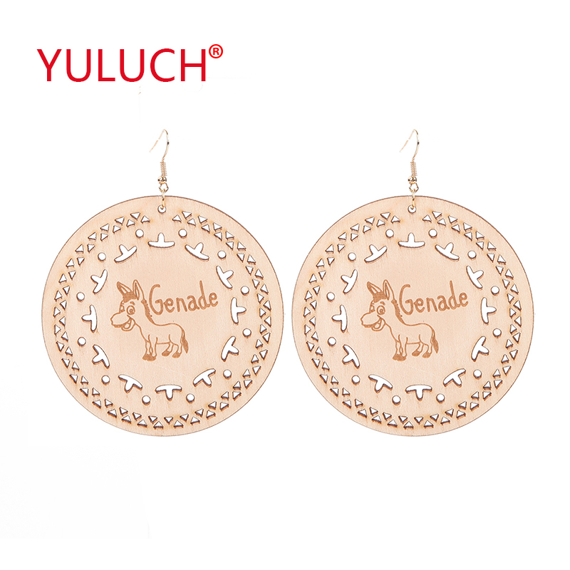 YULUCH Natural Wooden Jewelry 80mm Big Round Carved Animal Pendant Earrings For Fashion Personality Woman Earrings Gift