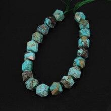 Pendentifs à facettes en forme de pépites, environ 20 pièces/str, pierres océaniques, couleur bleu ciel, gemmes naturelles percées au milieu