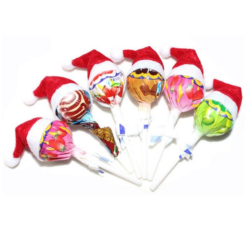 New 6 Pcs Mini Santa Claus Hat Christmas Xmas Holiday Lollipop Top Topper Hats Decoration Kids Toys