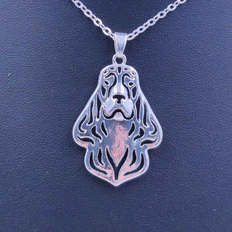 2019 New Cute Cocker Spaniel Necklace Dog Animal Pendant Gold Silver Plated Jewelry For Women Female Girls Kids Ladies N084