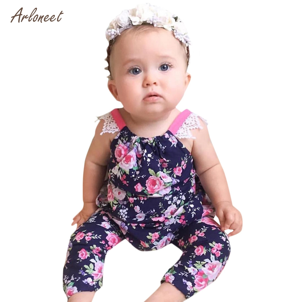 ARLONEET Newborn Infant Baby Girls Romper Floral Print Lace Bcakless Jumpsuit Outfits Summer Clothes 2018 HOT Dropshipping _E7