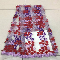 New 3D Flower DIY Chiffon Organza Lace Fabric Printed 130CM Applique Wedding Dress Clothing Bag Accessories