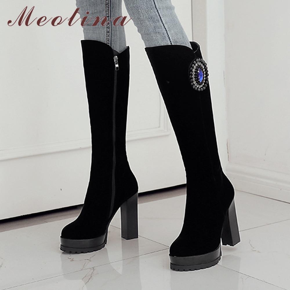 41c6707354 Meotina rodilla botas altas mujeres botas de plataforma de cristal zapatos  de invierno grueso del alto talón botas largas bloque talones mujer negro  en ...