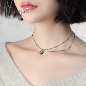 Image 3 - Thaya Star Planet Space Milky Way 100% s925 Silver Pendant Necklace Galaxy Crystal Black Chain for Women Jewelry Christmas Gift