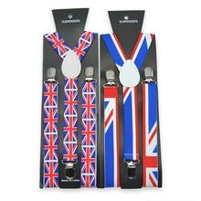 Новая мода 2,5 см/1 дюйм Английский флаг шаблон подтяжки унисекс клип-на подтяжках эластичный тонкий подтяжки Y-back подтяжки