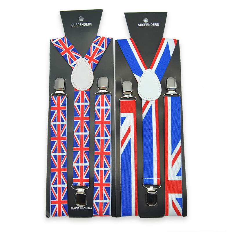 New Fashion 2.5cm / 1inch ENGLAND FLAG Pattern Suspender Unisex Clip-on Braces Elastic Slim Suspender Y- back Suspenders Gullas