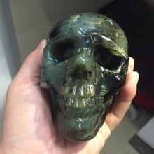 1.2 кг фэн-шуй natual красочные камнем Лабрадорит хрустальный череп резной Исцеление Рейки код Лидер продаж