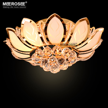 Gorgeous Lotus Flower Ceiling Light Crystal Lampshade Ceiling Lamp for Living Room Bedroom Lustres lamparas de techo abajur