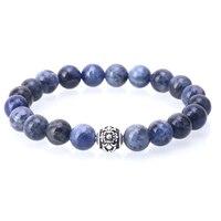 Mcllroy 10mm Blue Head Bracelet Buddha Beads Bracelets Bangles Charm Natural Stone Bracelet Men Jewelry Pulseras