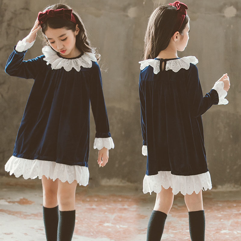 Christmas Velvet Teenage Winter 2018 Girls Dresses Fashion Casual Ruffles Dress For Girl Long Sleeve Princess Autumn ClothesChristmas Velvet Teenage Winter 2018 Girls Dresses Fashion Casual Ruffles Dress For Girl Long Sleeve Princess Autumn Clothes