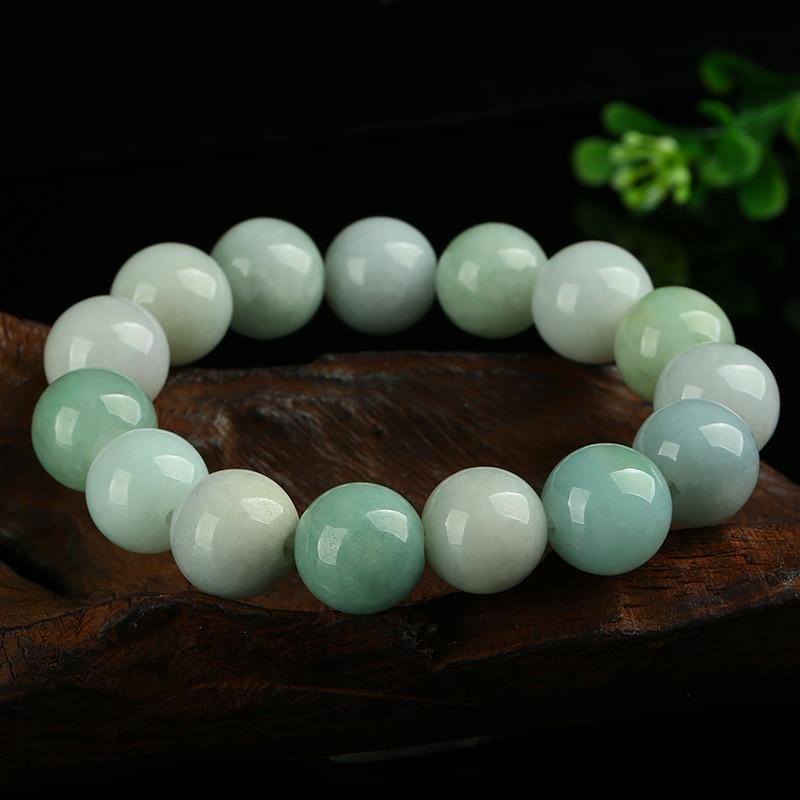 Genuine natural glutinous jade beads round bracelet Myanmar jade beads beads hand A goods jade jade beads bracelet jewelry tianyu jade
