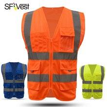 SFVEST مرحبا فيس بمعنى التنفيذي سترة وضوح عالية العمل صدرية عاكسة سلامة أعلى البرتقال الأصفر الأزرق شحن مجاني