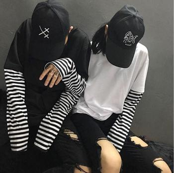bd712564b9 2018 coreano Harajuku negro blanco rayado Hip Hop camisetas hombres mujeres  otoño algodón falso dos piezas Extra manga larga suelta camiseta -  a.winfinite. ...