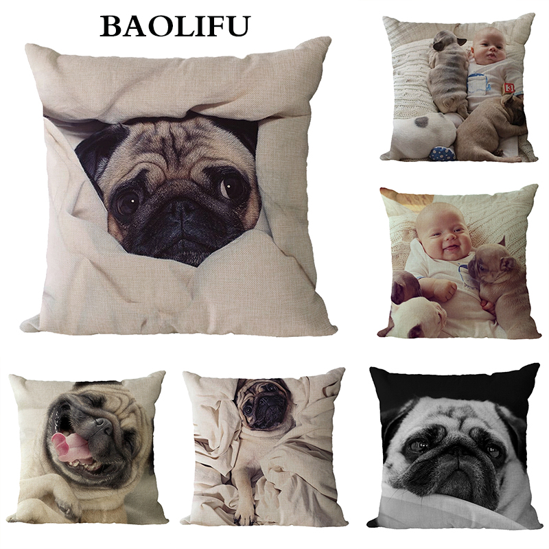 BAOLIFU Fashion Animal Cushion Cover Pug Dog Children 45*45cm Square Decor Car Sofa Throw Pillow Case B050