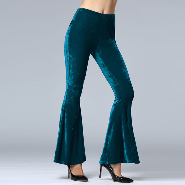 Fashion 2016 Women Pants Velvet Flare Casual Pants Female Solid Elastic Waist Regular Autumn Winter Trousers Plus Size S-XL