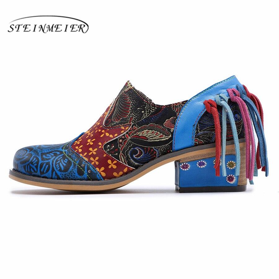 Vintage Blue Talons Femme D'été Pour Zip 2019 Femmes Chaussures Cuir Pompes Oxford Bleu Lady Véritable Printemps CnwXHAqRn