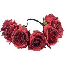 CXADDITIONS Fabric Big Red Rose Wildflower Headband Hair Accessory Headwrap Flower Crown Bridesmaid Floral Rustic Wedding