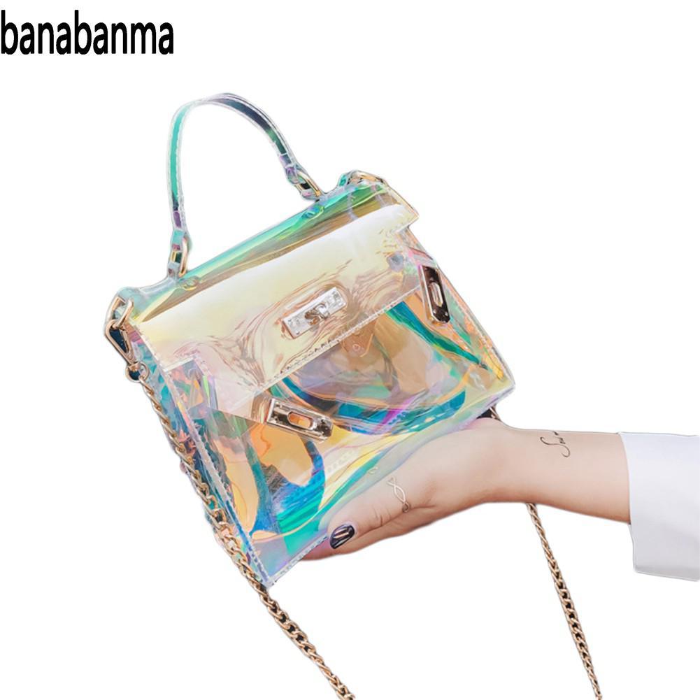 banabanma Women Fashion Shiny Laser Single Shoulder Bag Leisure Brilliant Large Capacity Handbag ZK30