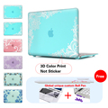 Print Laptop Case White Lace Cyan Background Cover For Macbook Air 13 Case Air 11 Pro 13 15 Retina For Mac book Air 13 Case