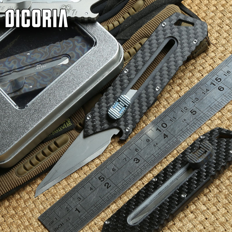 DICORIA Original Paper knife Olfa stainless steel blade Pruning Titanium Handle outdoor tactical camping pocket knives EDC tools цена