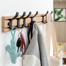 NO Hanger Wall Door Clothes Hook Sticky Row Free Punching Wall Load-bearing Coat Hook Wall Mounted Wooden Clothes Hanger