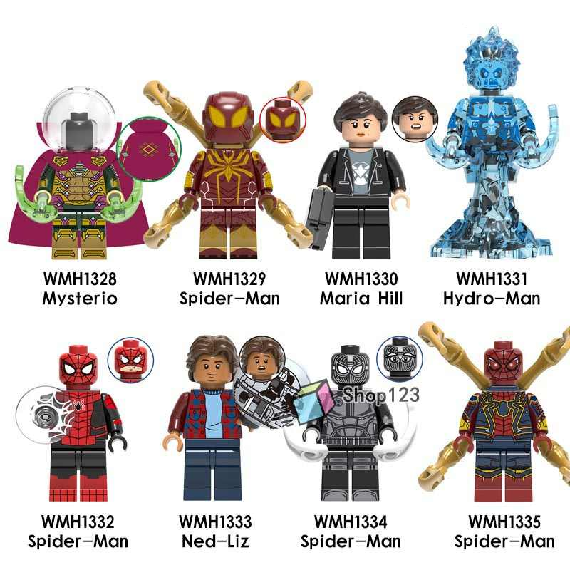 Spider - Man Far From Home Mysterio Maria Hill Hydro - Man Ned - Liz Spiderman Marvel Building Blocks ของขวัญของเล่นเด็ก