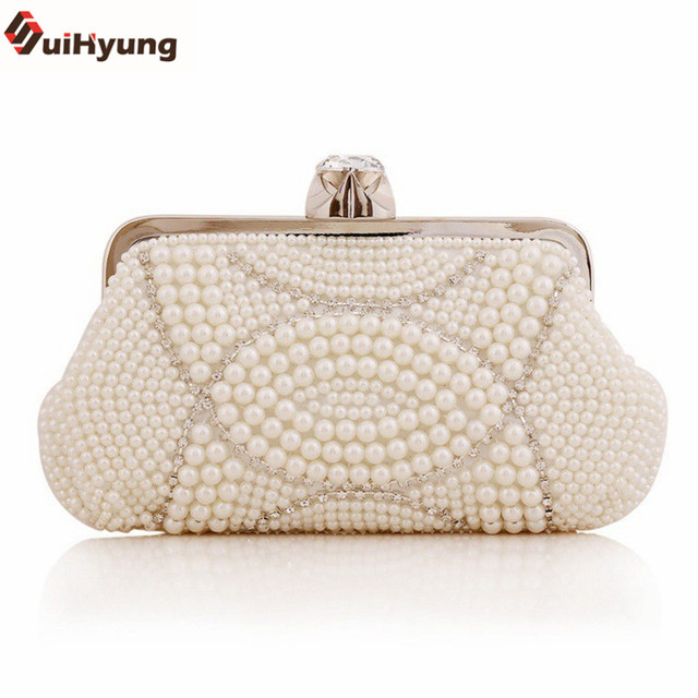 New Women Hand-beaded Day Clutches Elegant Pearl Diamond Evening Bag Wedding Banquet Bridal Handbag Purse Chain Shoulder  Bag
