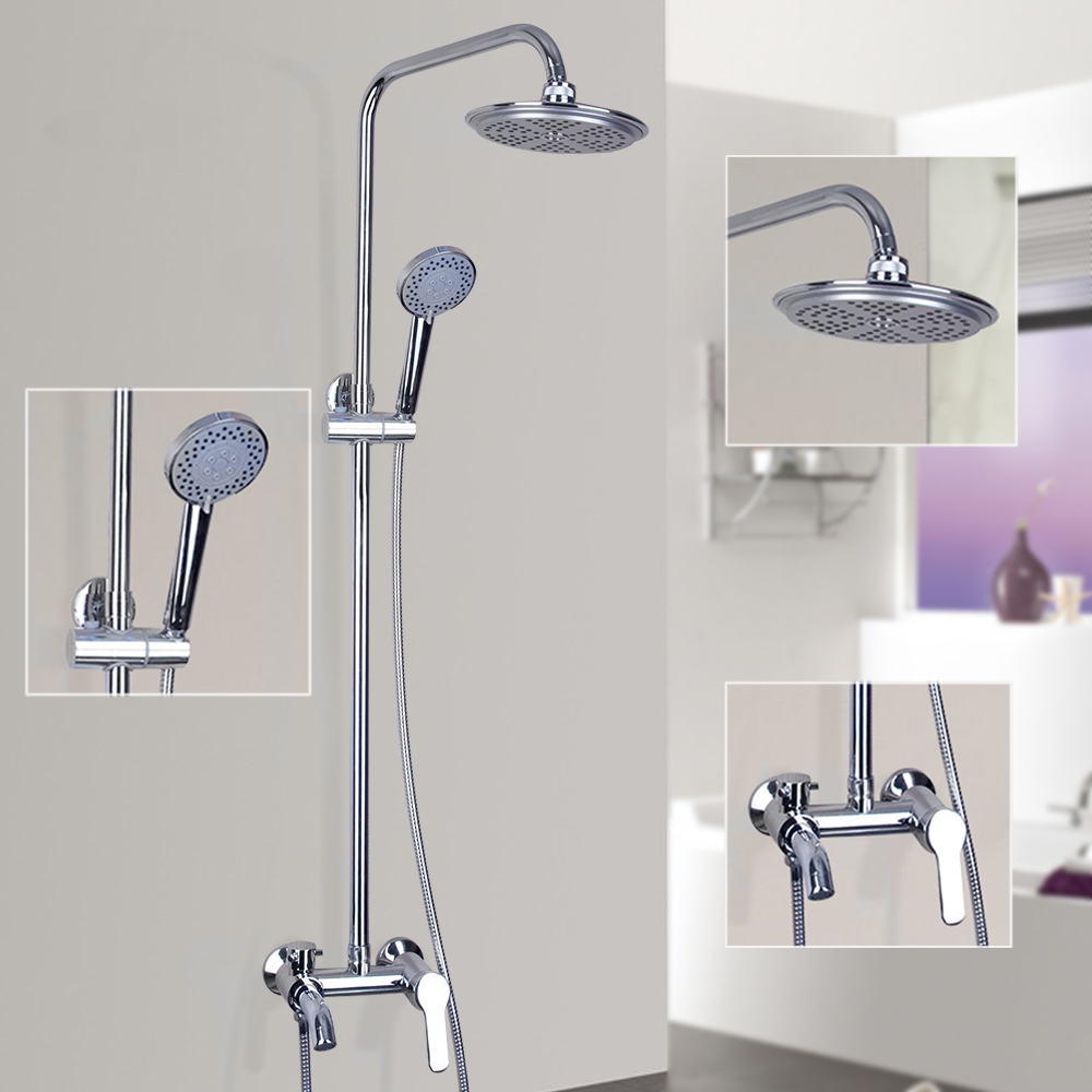 Torayvino Polish Chrome Mixer Cold&Hot Water Shower Set Faucets With the Hand Shower Wall Mounted Shower Set Faucets