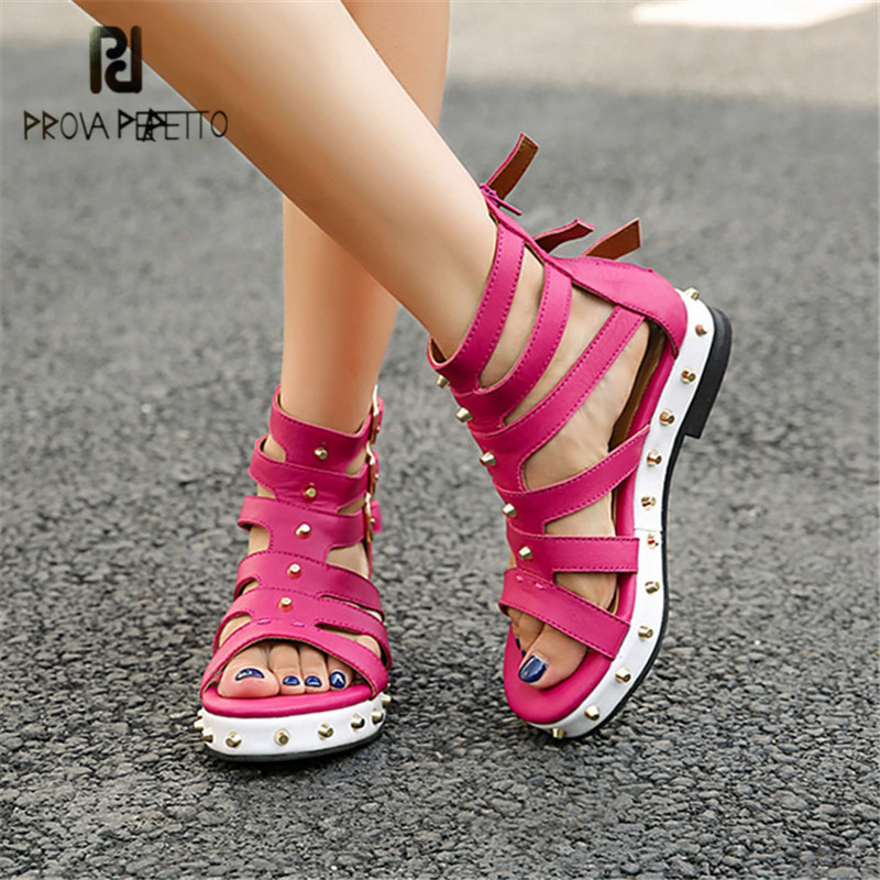 Prova Perfetto Hollow Out Women Sandals Straps Summer Gladiator Sandal Flat Beach Shoes Woman Ladies Platform Flats Creepers prova perfetto hollow out women sandals gladiator wedge sandal spell color lace up platform summer boots ladies shoes