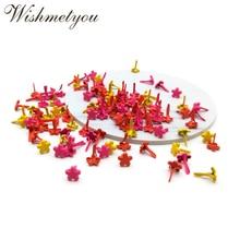 WISHMETYOU 100pcs 7mm Mixed Color Flower Brads For Diy Wedding Photo Album Decor Embellishment Scrapbooking Crafts Cute Brad New