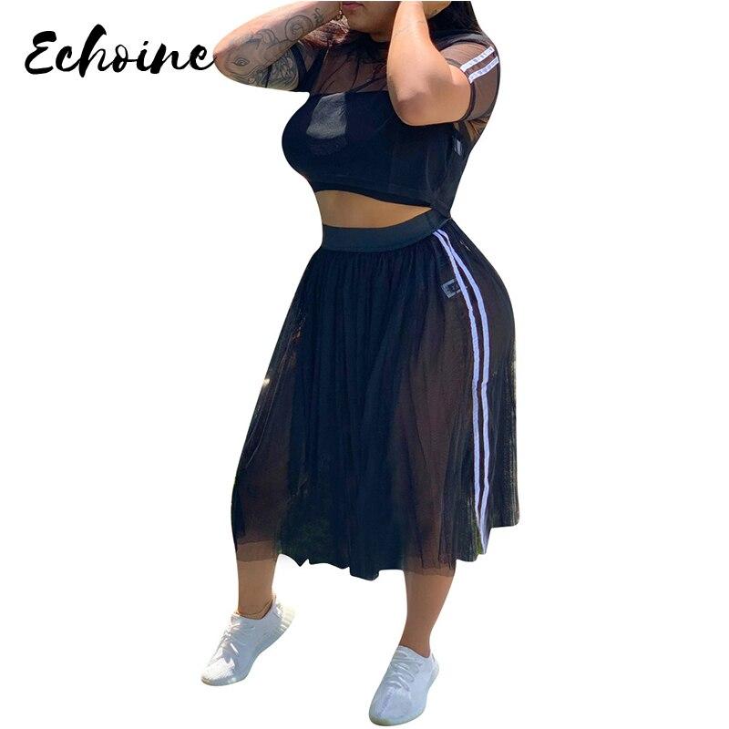 Echoine été O cou manches courtes maille voir si haut court plissé Midi jupes plage 2 pièces costumes grande taille XXL survêtement