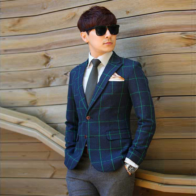 2016 Chaqueta Americana Hombre Doudoune Homme Blazer Men Good Quality Western Checked Plaid Lattice Man's Suit Jacket One Piece