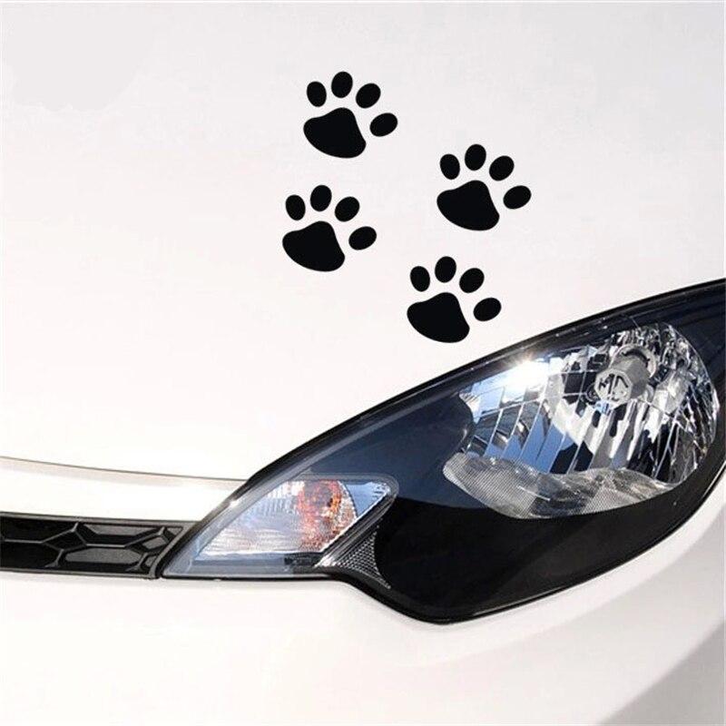 4 Pcs Footprints Dog Paws Panda Footprints Decals Car Stickers Car Window Bumper Body Personality Fun Stickers